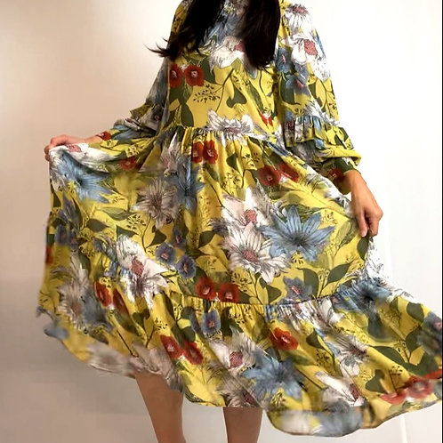 yellow flora dress