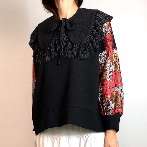 Brocade sleeve sweater