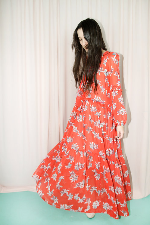 Red Floral Maxi Dress With Frill Detail