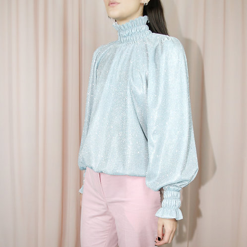 Blue Metallic Long Sleeved Top With High Neck