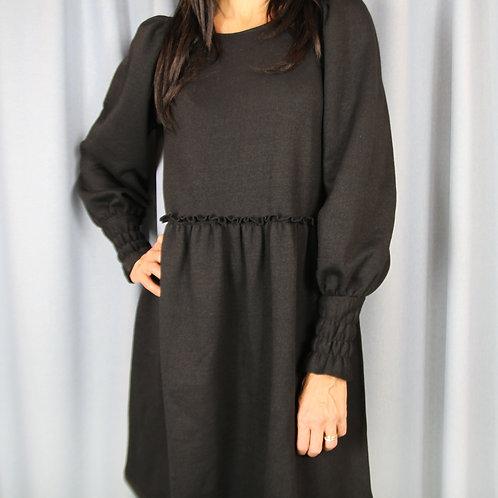 Black Wool Frill Detail Mini Dress
