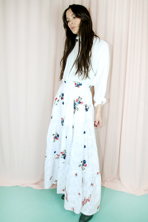 White Embroidered Floral Tiered Maxi Skirt