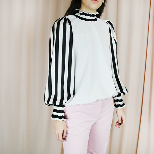 Black And White Striped Sleeve Ruffle Neck Top