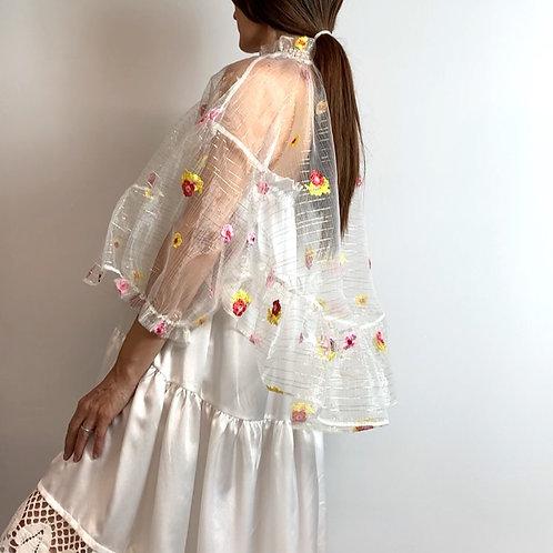 sheer floral mini cape