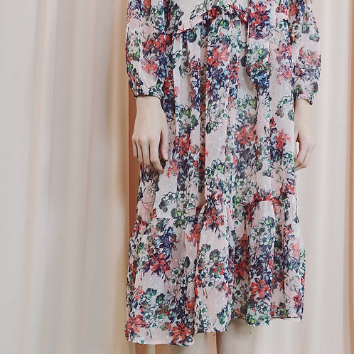 Pink Floral Midi Dress With Frill Detail