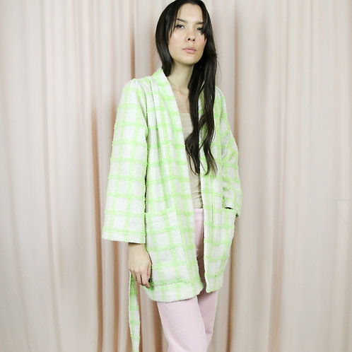 Green And Cream Checked Wool Kimono With Belt