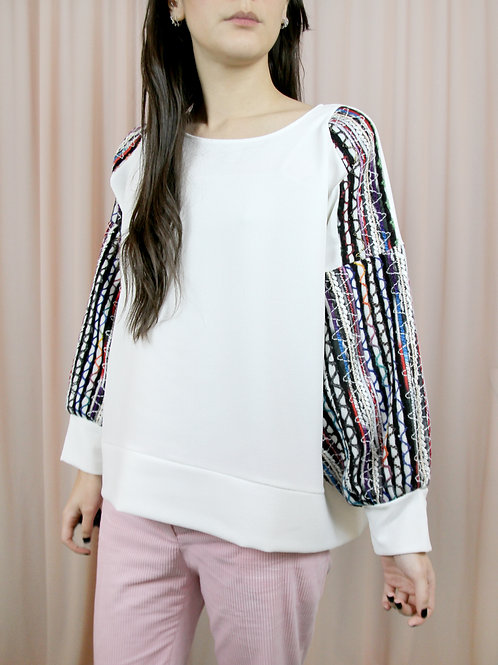 White Oversized Top With Wool Patterned Sleeves
