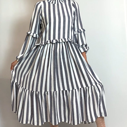 Sliced stripe dress