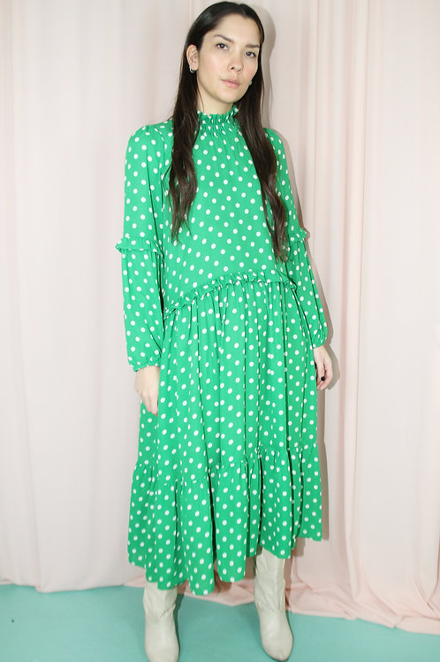 Green Polka Dot Printed Midi Dress With Ruffle Sleeves