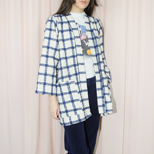 Navy Blue And Cream Checked Wool Kimono With Belt