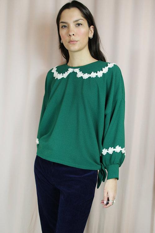 Green Daisy Side Tie Top
