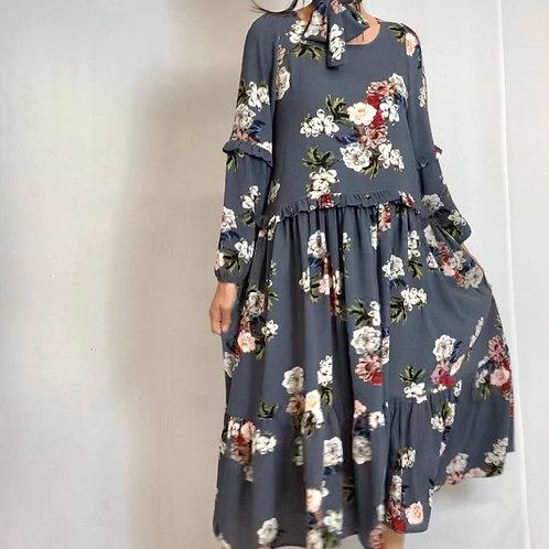 Grey crepe bouquet dress