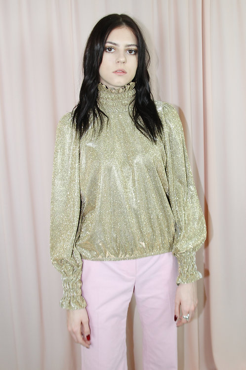 Gold Metallic Long Sleeved Top With High Neck