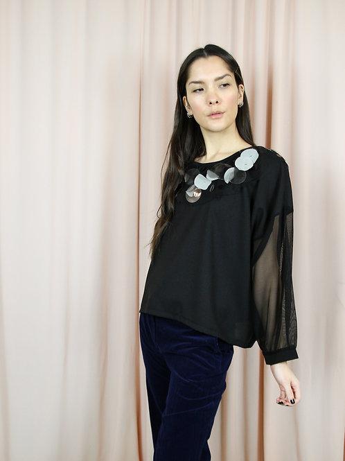 Black Fabric Embellished Mesh Sleeved Top