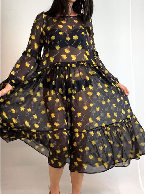 Yellow Poppy Midi dress