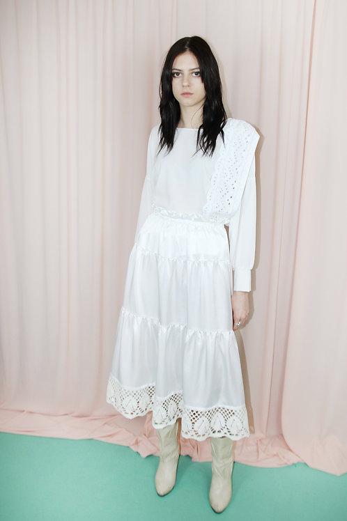 White Lace Trim Tiered Midi Skirt