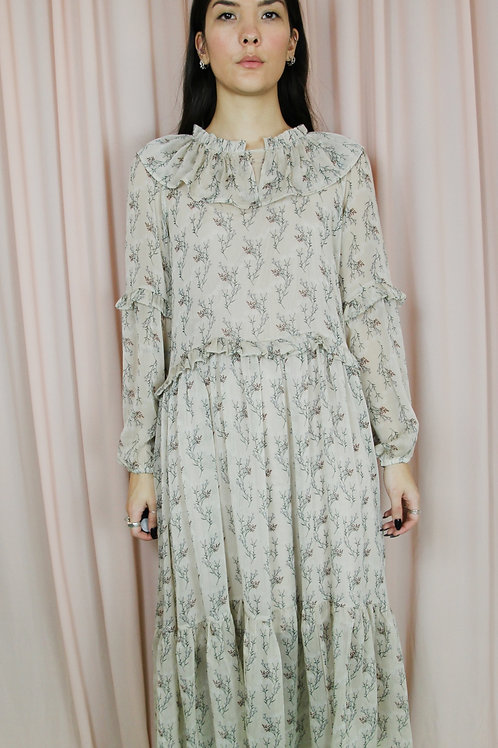Floral Print Cape Collar Midi Dress With Ruffle Sleeves