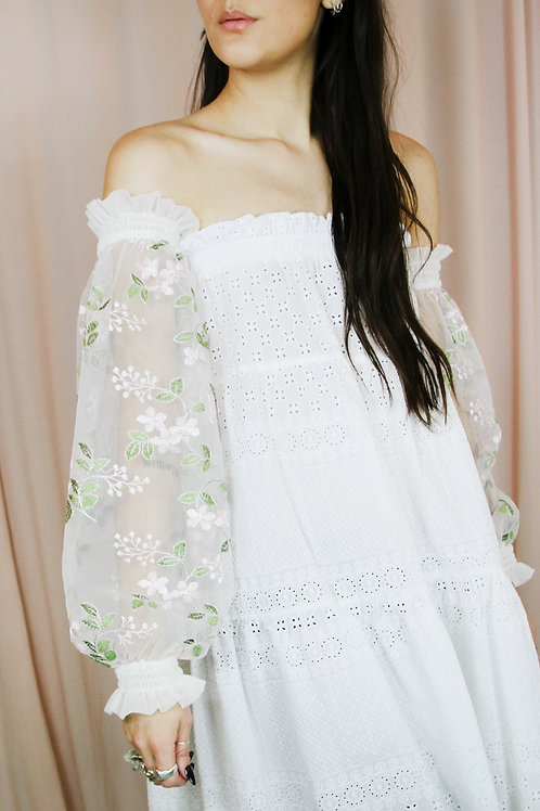 White Floral Mesh Ruffled Sleeves