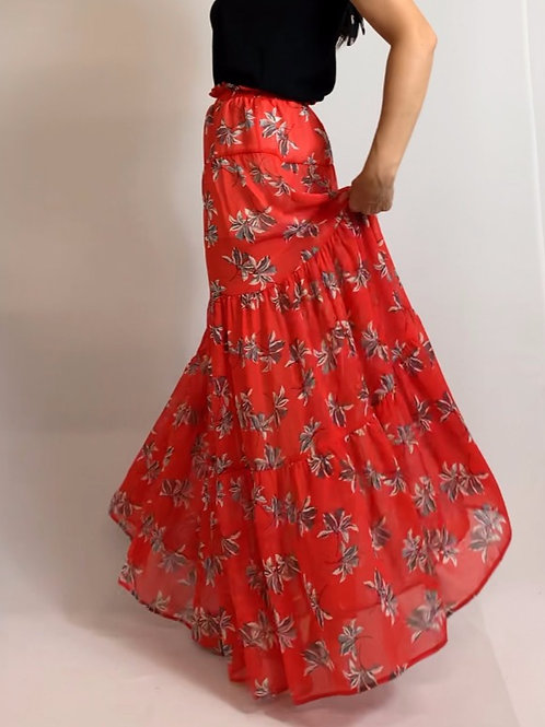 Red Leaf Maxi Skirt