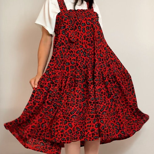 Red Leopard Pinafore Dress