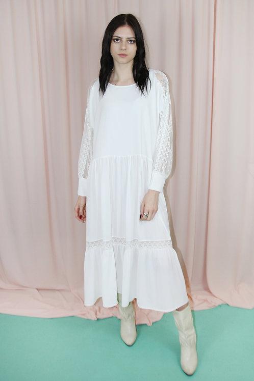 Ivory White Lace Insert Maxi Dress