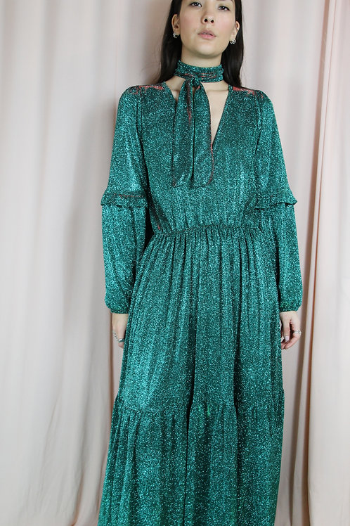 Green Glitter Ruffled Maxi Dress