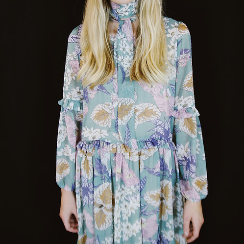 Blue Floral Midi Dress With Neck Tie