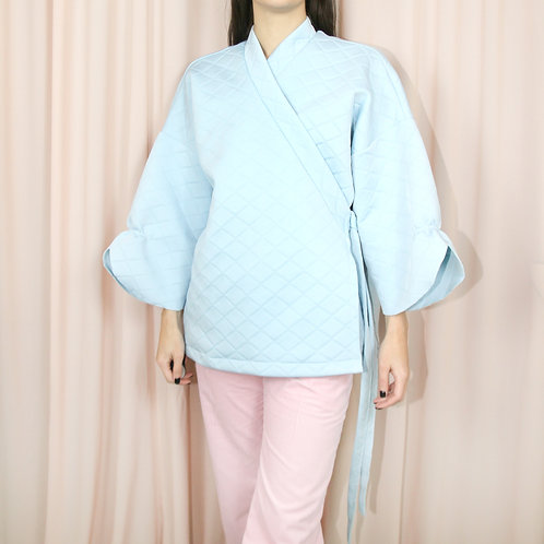 Light Blue Quilted Belted Kimono