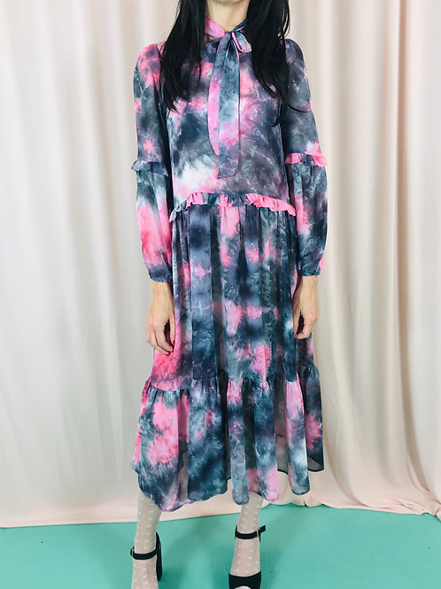 Pink tie dye midi dress with frill detail