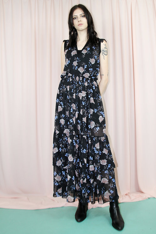 Sheer Tiered Floral Print Maxi Dress