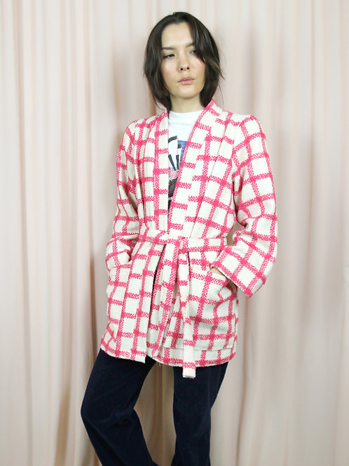 Pink And Cream Checked Wool Kimono With Belt