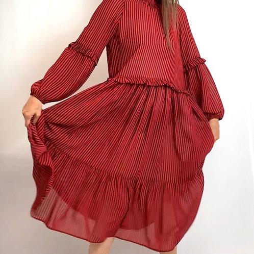 Black/red stripe dress