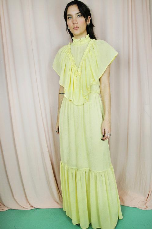Yellow & Gold High Neck Maxi Dress