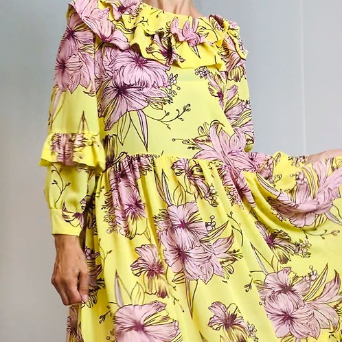Perriot yellow lily dress