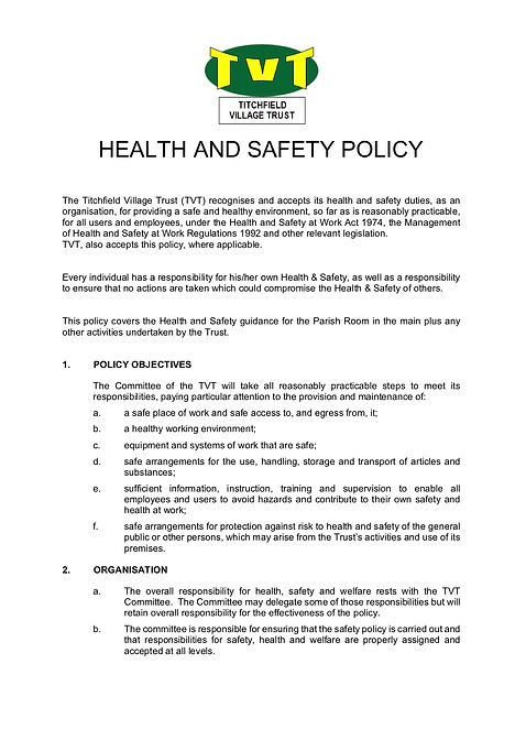HEALTH AND SAFETY POLICY 24.3.20 V001 P1
