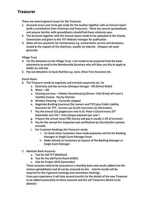 Treasurer and Parish Room Booking Roles