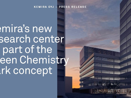 Kemira Oyj's new research center as part of the Green Chemistry Park to be built in Finnoo, Espoo.