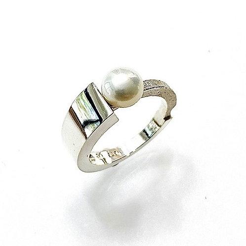 Bague asymétrique avec perle