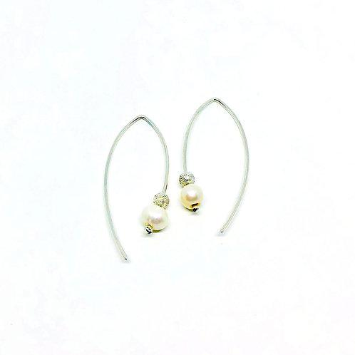 Boucles d'oreilles pendante 2 côtés avec perles