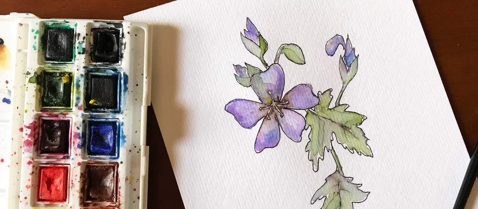 Painting an Ink & Watercolor Flower