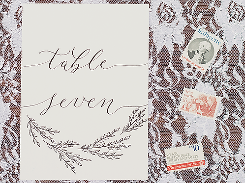 Table Numbers - 5x7