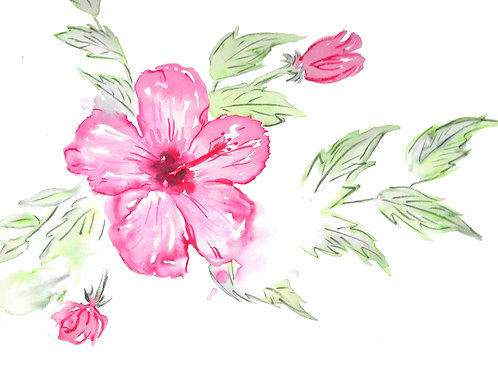 5.5x4.25 Card -Pink Hydrangea
