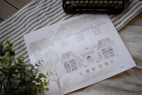 Home Portrait in Watercolor