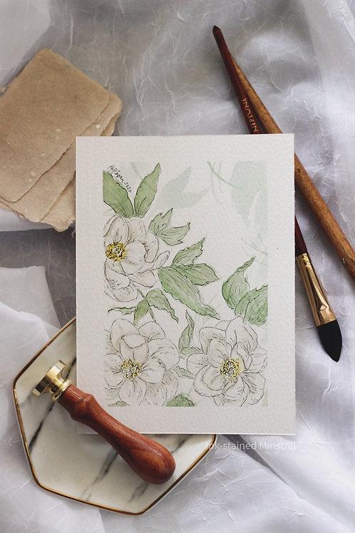 Original Watercolor & Ink Floral