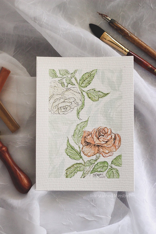 Original Watercolor & Ink Florals