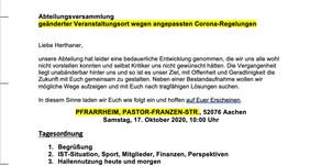 Abteilungsversammlung Fussball (geänderter Veranstaltungsort wegen angepassten Corona-Regelungen)
