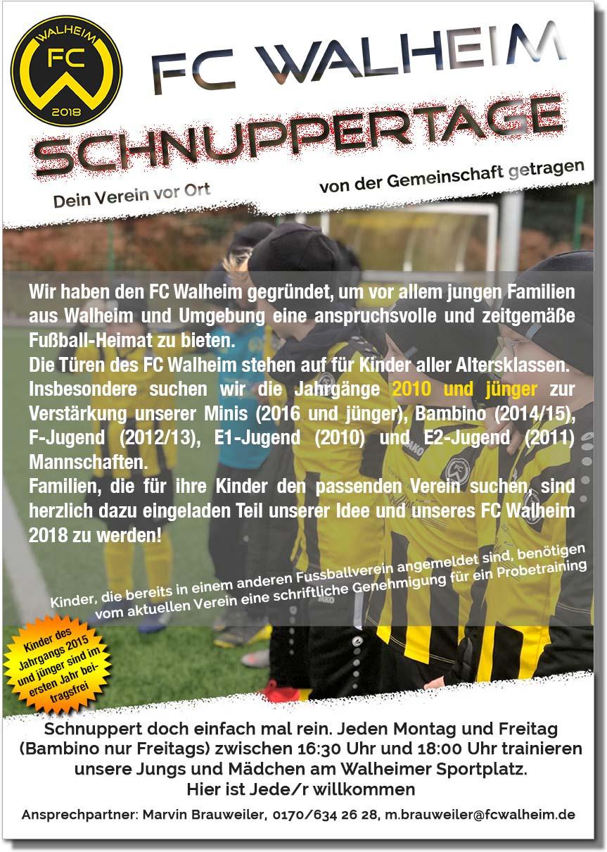 Schnuppertage beim FC Walheim