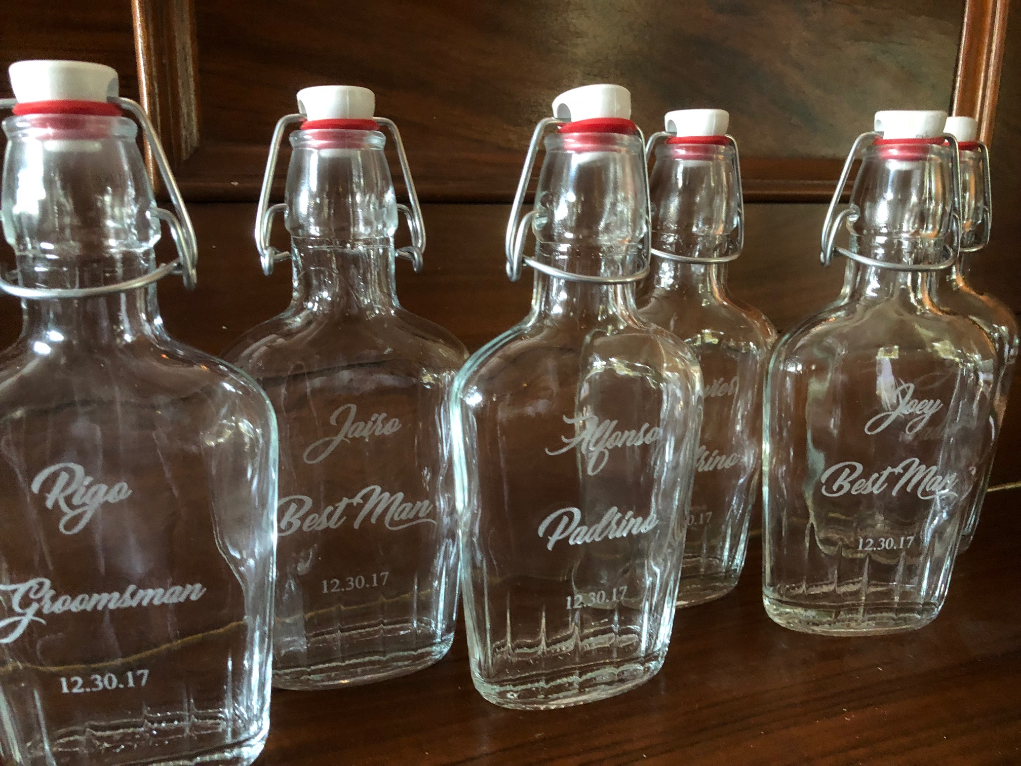 Engraved glass flasks