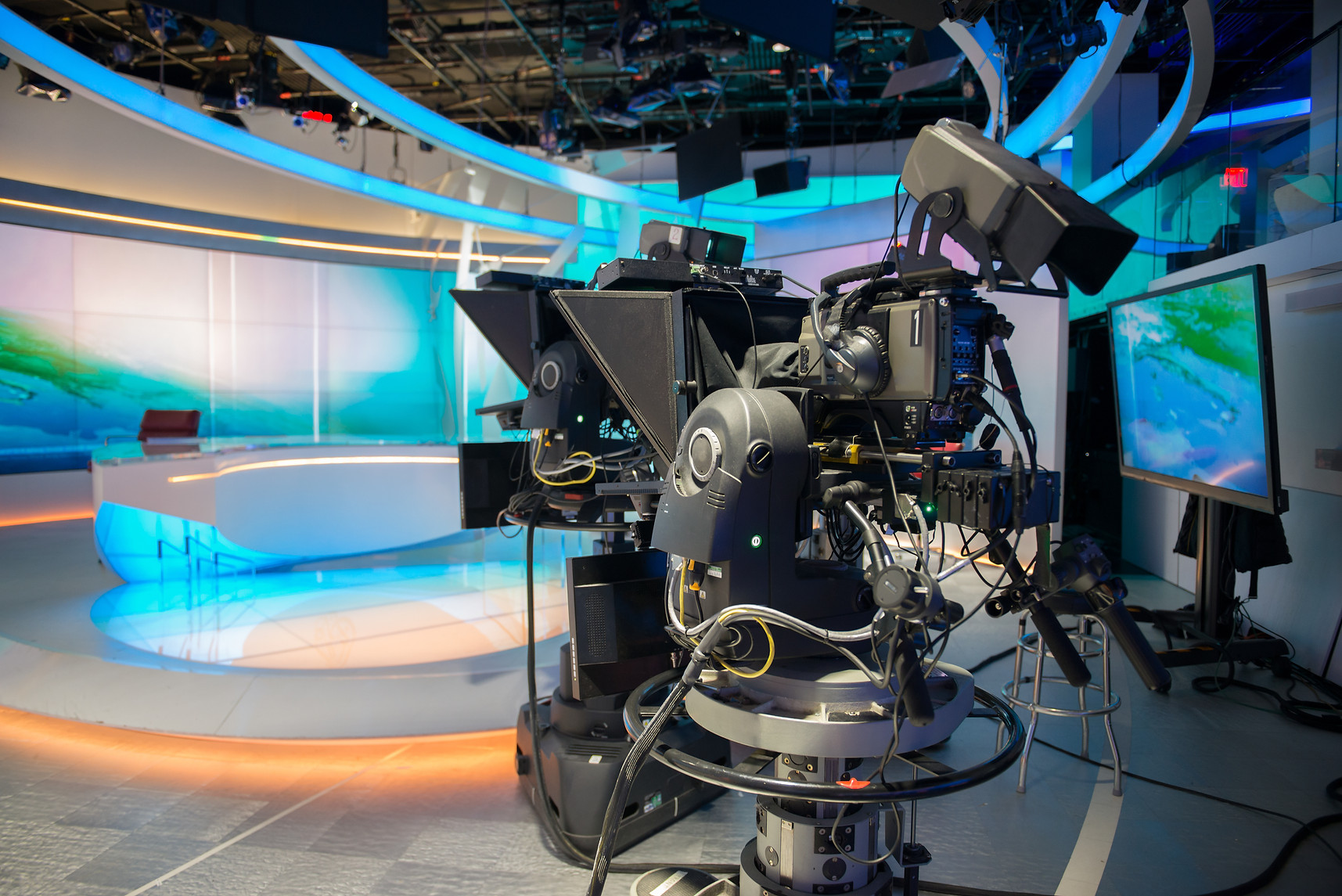 TV NEWS cast studio with camera and ligh