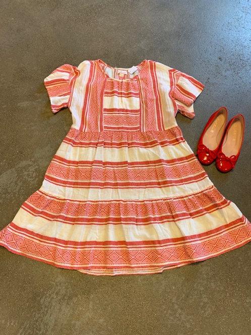 Kleid Velvet Weiss/Rot Gr.S